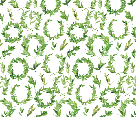 Watercolor Laurel Wreath - Green and white fabric by aliceelettrica on Spoonflower - custom fabric