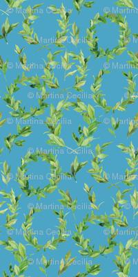 Watercolor Laurel Wreath - teal