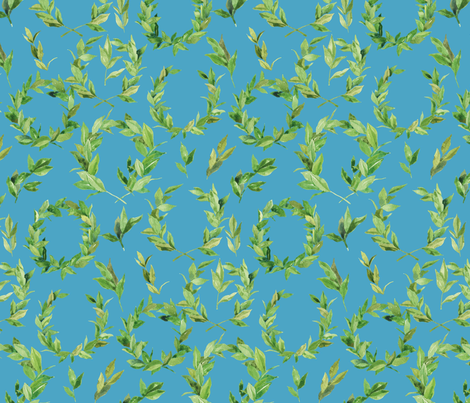 Watercolor Laurel Wreath - teal fabric by aliceelettrica on Spoonflower - custom fabric