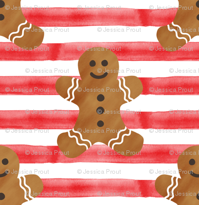 """(1"""" scale) gingerbread man on red stripes"""