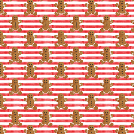 """(1"""" scale) gingerbread man on red stripes fabric by littlearrowdesign on Spoonflower - custom fabric"""