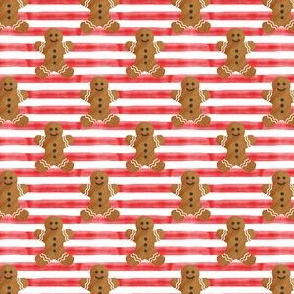 "(1"" scale) gingerbread man on red stripes"