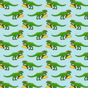 (small scale) tmex - trex eating tacos on blue