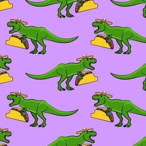 tmex - trex eating tacos on purple