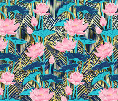 Art Deco Lotus Flowers In Pink Navy Wallpaper Micklyn Spoonflower