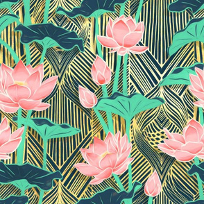 Art Deco Lotus Flowers in Peach & Emerald