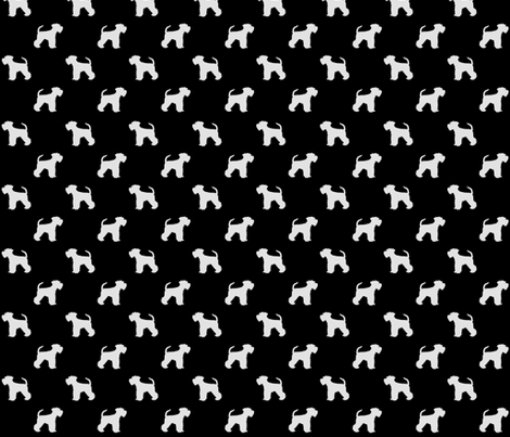Schnauzer Shilhouette White on Black Small fabric by olly's_corner on Spoonflower - custom fabric