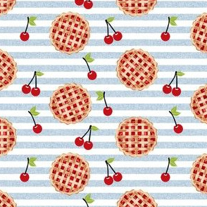 cherry pie fabric - food, pie, pies, cherries, fruit, cherry, baker, bakery - blue stripes
