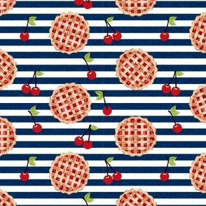 cherry pie fabric - food, pie, pies, cherries, fruit, cherry, baker, bakery - navy stripe