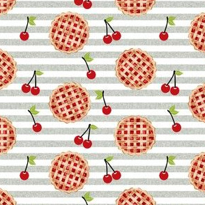 cherry pie fabric - food, pie, pies, cherries, fruit, cherry, baker, bakery - tan stripe