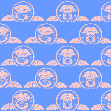 "Cloud trapeze - block print-1.5""-Blue sky- fabric by cloudsong_art on Spoonflower - custom fabric"