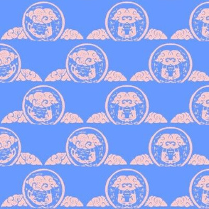 "Cloud trapeze - block print-1.5""-Blue sky-"