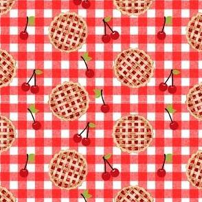 cherry pie fabric - food, pie, pies, cherries, fruit, cherry, baker, bakery -  red gingham