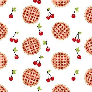 cherry pie fabric - food, pie, pies, cherries, fruit, cherry, baker, bakery - white