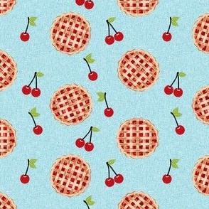 cherry pie fabric - food, pie, pies, cherries, fruit, cherry, baker, bakery -  blue