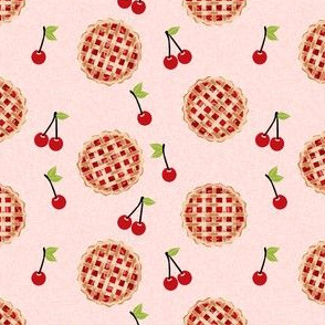 cherry pie fabric - food, pie, pies, cherries, fruit, cherry, baker, bakery - - pink