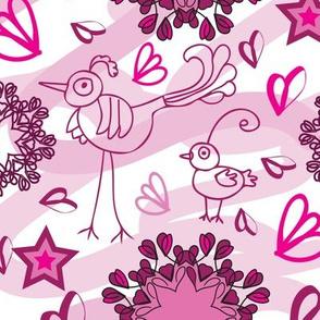 Birdies and Mandala Flowers-Birdies Doodles Seamless Repeat Pattern