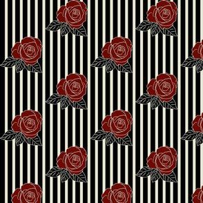 roses striped beige black maroon