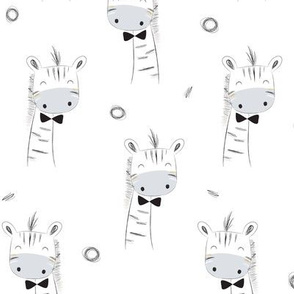 Cute Giraffes in Black, White & Gray –Monochrome Animals Baby Nursery Fabric