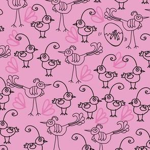 Birdies and Chicks-Birdies Doodles Seamless Repeat Pattern