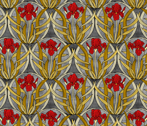 Red Iris Nouveau fabric by pond_ripple on Spoonflower - custom fabric