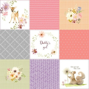 Daddy's Girl Forest Animals Patchwork Cheater Quilt - Baby Girl Blanket, Bunny Hedgehog Squirrel Deer - Peach Coral Lavender + Gray - EMILY pattern