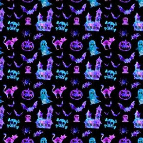 Watercolor Halloween Icons in Black + Rainbow Candy
