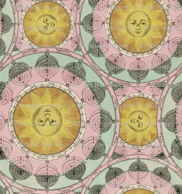Vintage Celestial Charts in Mint + Pink