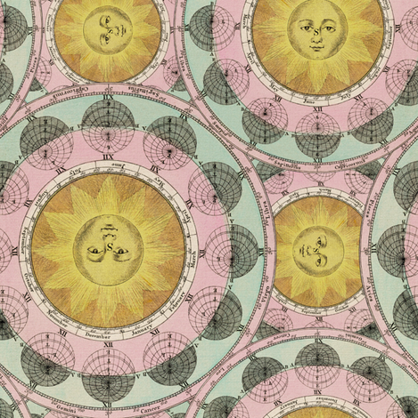 Vintage Celestial Charts in Mint + Pink fabric by elliottdesignfactory on Spoonflower - custom fabric
