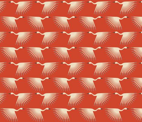 Art Deco Cranes - Vermilion fabric by katerhees on Spoonflower - custom fabric