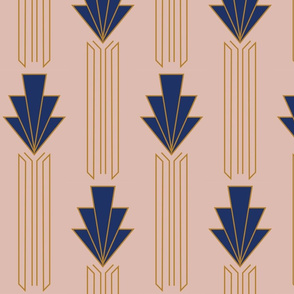 Daisy //  Art Deco // Royal Blue, Gold, Blush Pink