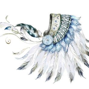 "54""x36"" Blue Headdress"