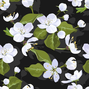 Apple blossom seamless flowered pattern with cherry flowers