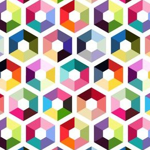 Rainbow hexagons on white background colorful geometry seamless pattern