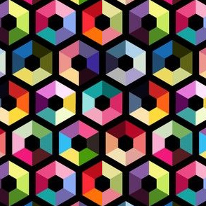 Rainbow hexagons on black background colorful geometry seamless pattern