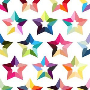 Rainbow stars on white background colorful geometry seamless pattern