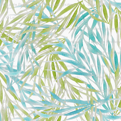 Blue & Green Watercolor Leaves on White