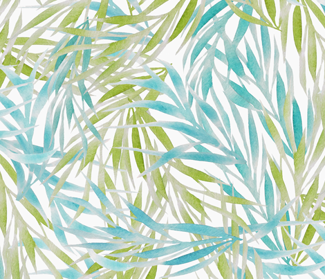 Blue & Green Watercolor Leaves on White fabric by lauriekentdesigns on Spoonflower - custom fabric