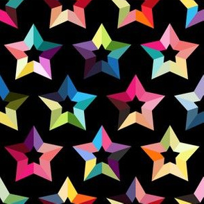Rainbow stars on black background colorful geometry seamless pattern