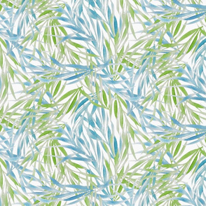 watercolor palm fronds in blue and green