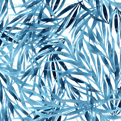 Watercolor Blue Leaves on White