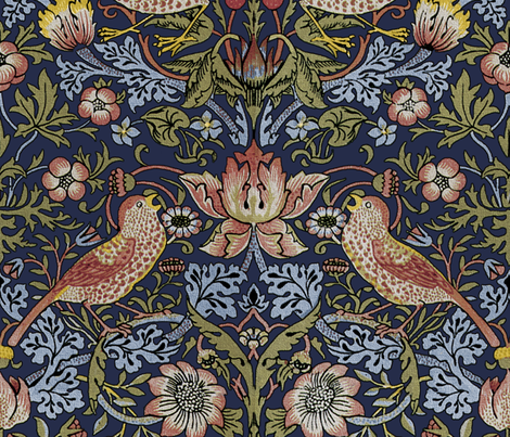 William Morris ~ Strawberry Thief ~ Original Blue ~ Large fabric by peacoquettedesigns on Spoonflower - custom fabric
