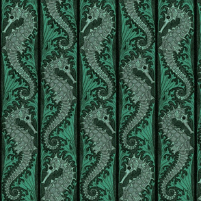 Seahorse Stripe Mosaic Emerald Grey ~ Medium