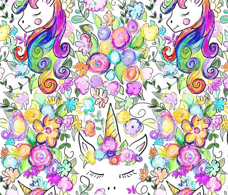 Rainbow Unicorns + Flowers fabric by theartwerks on Spoonflower - custom fabric