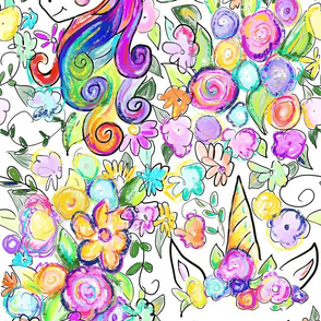 Rainbow Unicorns + Flowers