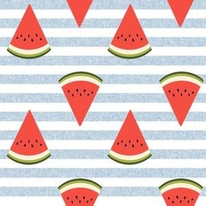 watermelon fruit fabric - fruit, fruits, melon, watermelons, red, summer, - blue stripe
