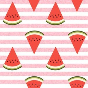 watermelon fruit fabric - fruit, fruits, melon, watermelons, red, summer, - pink stripe