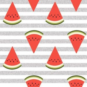 watermelon fruit fabric - fruit, fruits, melon, watermelons, red, summer, -  grey stripe