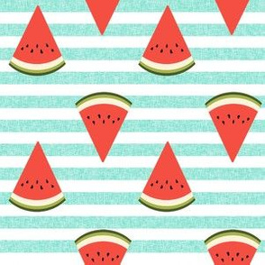 watermelon fruit fabric - fruit, fruits, melon, watermelons, red, summer, - mint stripe