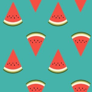 watermelon fruit fabric - fruit, fruits, melon, watermelons, red, summer, - turquoise